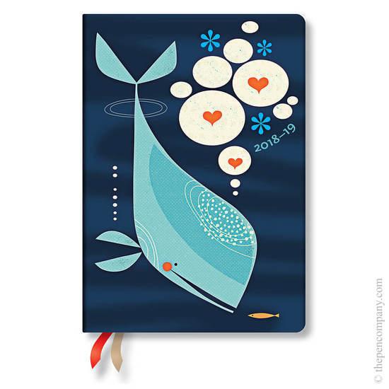 Midi Paperblanks Tracy Walker Animal Friends 2018-2019 18 Month Diary Whale & Friend Horizontal Week