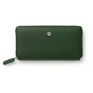 Olive Green Graf von Faber-Castell Epsom Leather Ladies Purse with Zip Wallet - 1