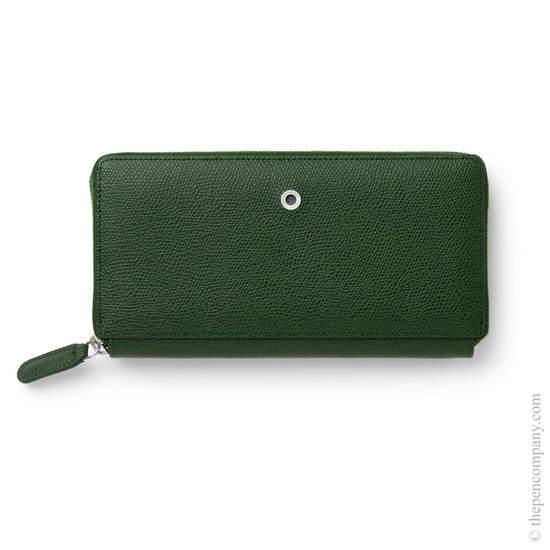 Olive Green Graf von Faber-Castell Epsom Leather Ladies Purse with Zip Wallet - 1