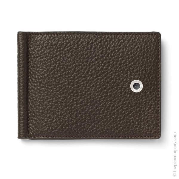 Dark Brown Graf von Faber-Castell Cashmere Credit Card Holder with Money Clip