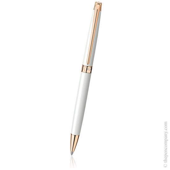 White Caran d Ache Léman Slim Ballpoint Pen - 1