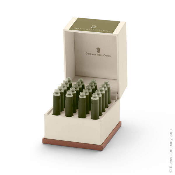 Olive Green Graf von Faber-Castell 20 Fountain Pen Ink Cartridges