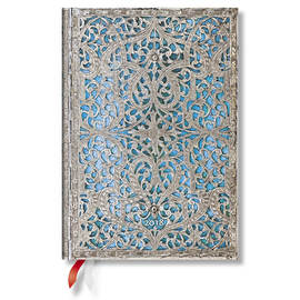 Midi Paperblanks Silver Filigree 2018 Diary Maya Blue Day-to-View - 1