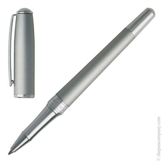 Matt Chrome Hugo Boss Essential Matte Rollerball Pen - 2