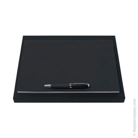 Dark Grey Hugo Boss Advance Fabric Rollerball and Note Pad Set - 8