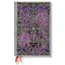 Paperblanks Mini Week-to-view Aubergine Silver Filigree 2017 Diary - 1