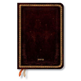 Midi Paperblanks Old Leather 2019 Diary Black Moroccan Vertical Week-to-View - 1