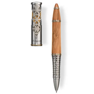 Montegrappa Leonardo Da Vinci 500th Anniversary Rollerball Pen Olive Wood/Stainless Steel - 1