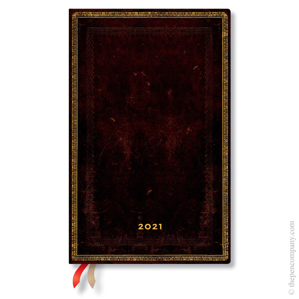 Maxi Paperblanks Old Leather 2021 Diary 2021 Diary Black Moroccan Vertical Week-to-View