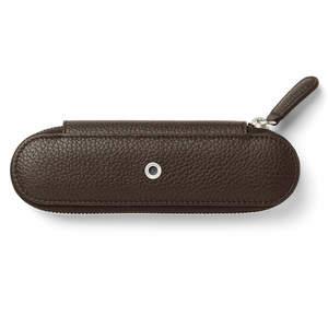 Dark Brown Graf von Faber-Castell Cashmere Pen Case with Zip for Two Pens - 2