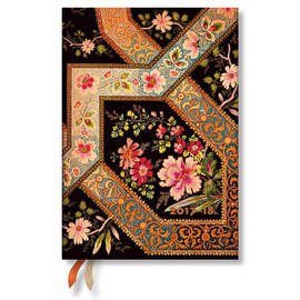 Midi Lyon Floral 2017-2018 18 Month Diary Filigree Floral-Ebony Horizontal Week-to-View - 1