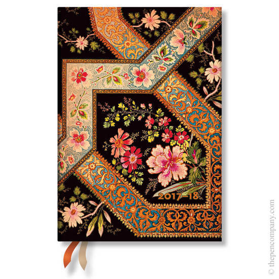 Midi Lyon Floral 2017-2018 18 Month Diary Filigree Floral-Ebony Horizontal Week-to-View - 1