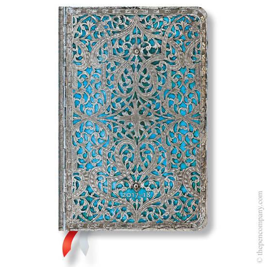 Mini Silver Filigree 2017-2018 18 Month Diary Maya Blue Horizontal Week-to-View - 1