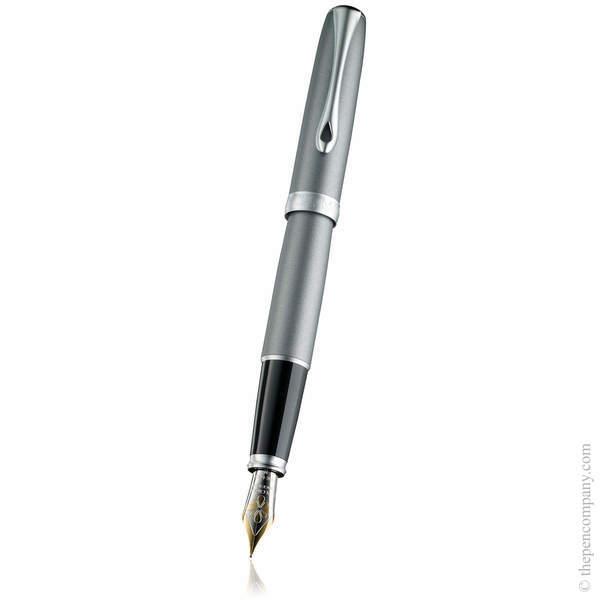 Venezia Platin Matt Chrome Diplomat Excellence A2 Fountain Pen 14K Gold - Medium