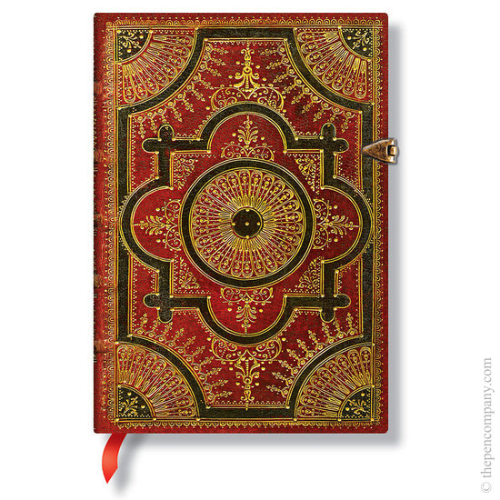 Lined Midi Paperblanks Baroque Ventaglio Rosso Journal - 1