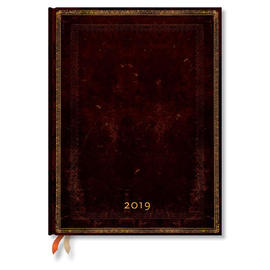 Ultra Paperblanks Old Leather 2019 Diary Black Moroccan Vertical Week-to-View - 1