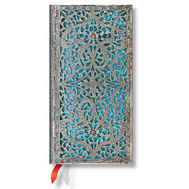 Paperblanks Silver Filigree Maya Blue Slim 2016 Horizontal Diary - 1