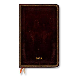 Maxi Paperblanks Old Leather 2019 Diary Black Moroccan Vertical Week-to-View - 1