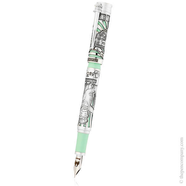 Silver Montegrappa Mr Monopoly Fountain Pen - Medium