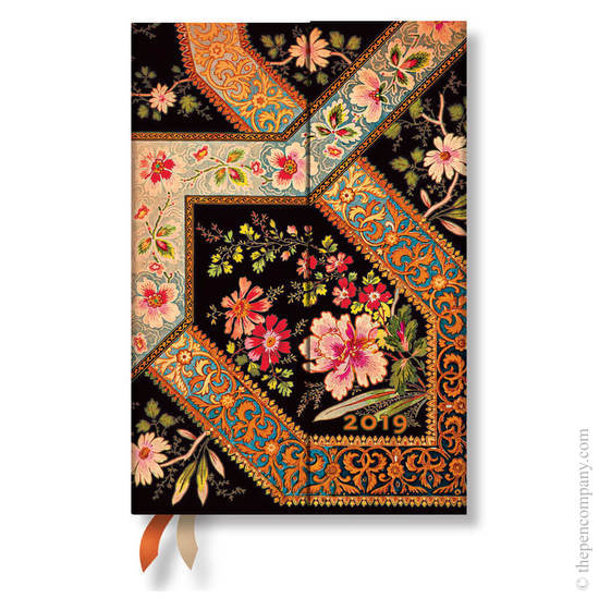 Mini Paperblanks Lyon Floral 2019 Diary Filigree Floral-Ebony Day-to-View - 1