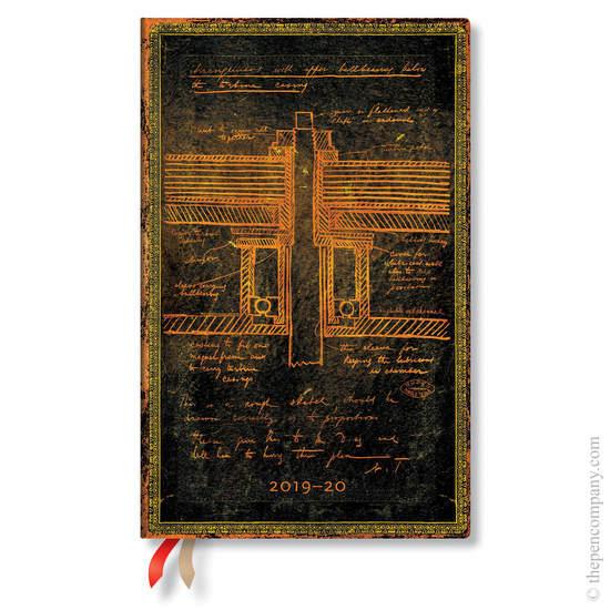 Maxi Paperblanks Embellished Manuscripts Flexi 2019-2020 18 Month Diary Tesla, Sketch of a Turbine V