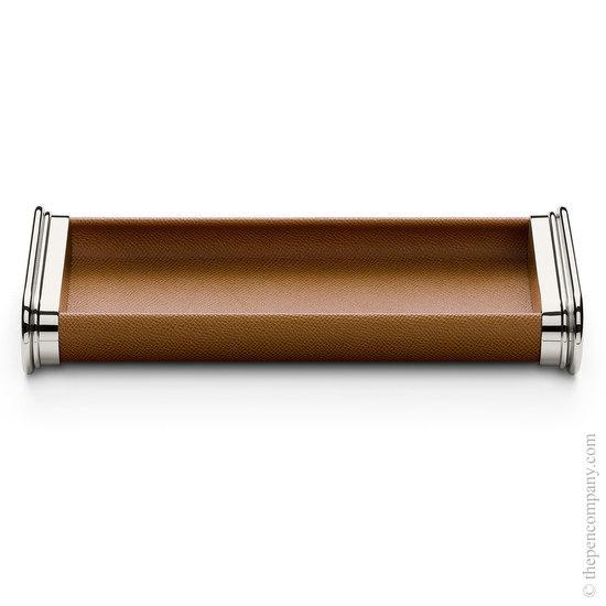 Cognac Graf von Faber-Castell Leather Pen Tray - 1