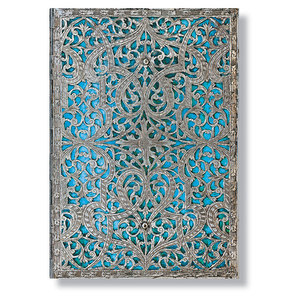 Midi Paperblanks Silver Filigree Maya Blue Address Book - 1