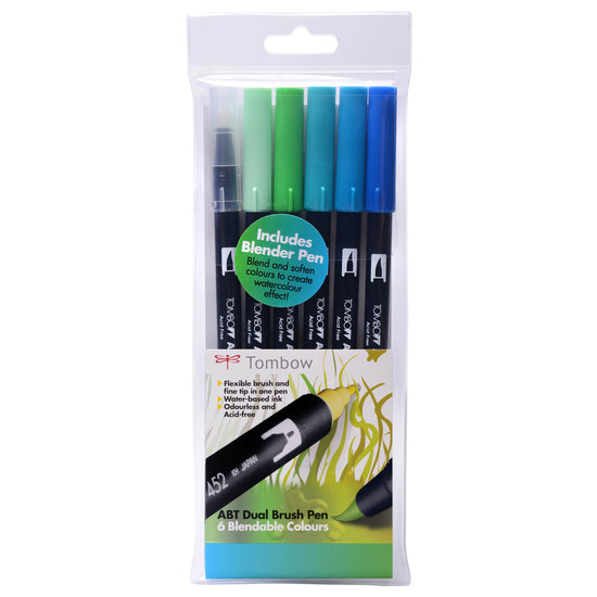 Tombow ABT 6 brush pen set - ocean - 1
