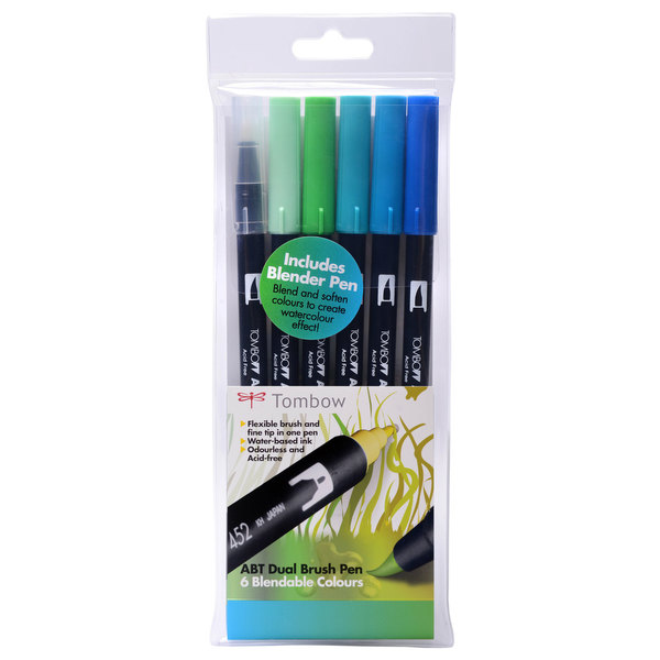 Ocean Tombow ABT Brush Pen Pack of 6