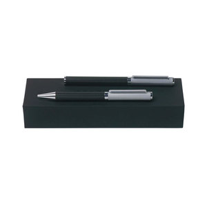 Black/Chrome Hugo Boss Reverse Fountain and Ballpoint Set - 1