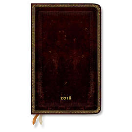 Maxi Paperblanks Old Leather 2018 Diary Black Moroccan Horizontal Week-to-View - 1