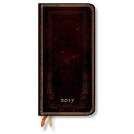 Paperblanks Slim Week-to-view Black Moroccan Old Leather 2017 Diary - 1
