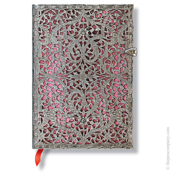 Midi Paperblanks Silver Filigree Journal Blush Pink Lined