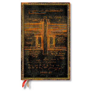 Paperblanks Tesla, Sketch of a Turbine Embellished Manuscripts Flexi Academic Diary Maxi