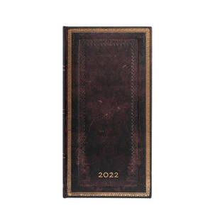 Paperblanks Black Moroccan Old Leather 2022 Diary Slim - Front