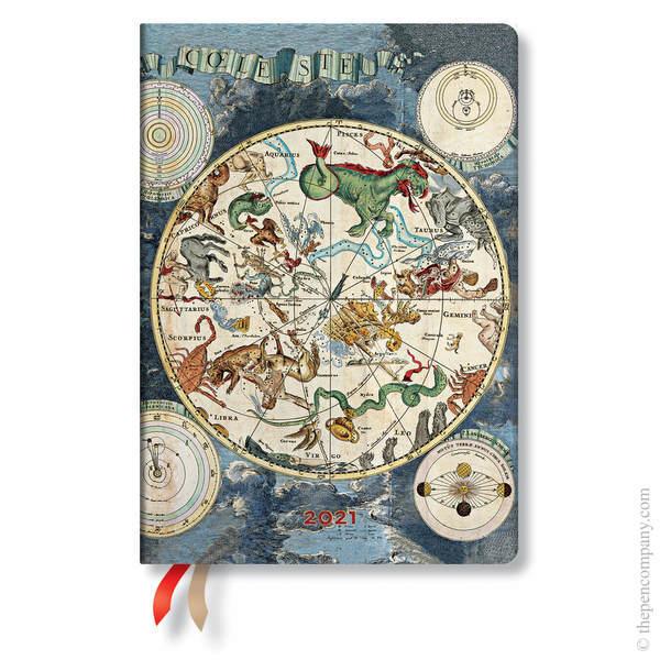 Midi Paperblanks Early Cartography Flexi 2021 Diary 2021 Diary Celestial Planisphere Horizontal Week-to-View
