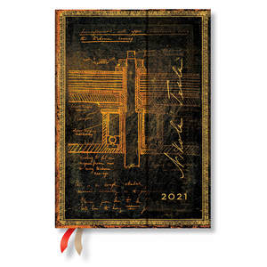 Paperblanks Tesla, Sketch of a Turbine Embellished Manuscripts 2021 Diary Midi