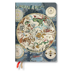 Midi Paperblanks Early Cartography Flexi 2020 Diary Celestial Planisphere Horizontal Week-to-View -