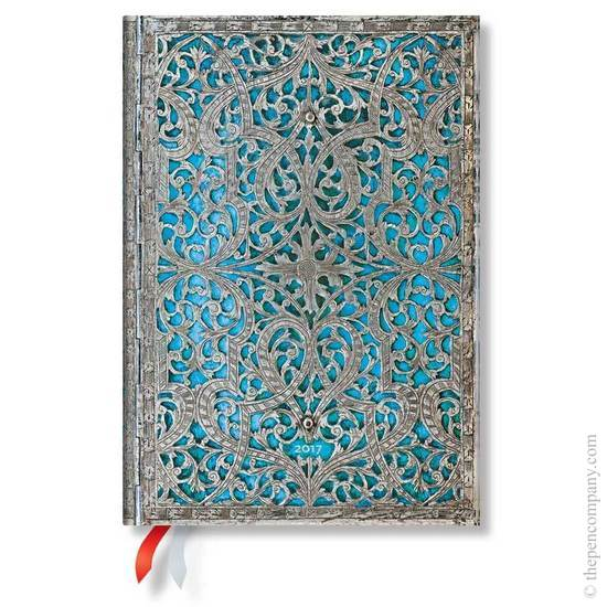 Paperblanks Midi Day-at-a-Time Maya Blue Silver Filigree 2017 Diary - 1