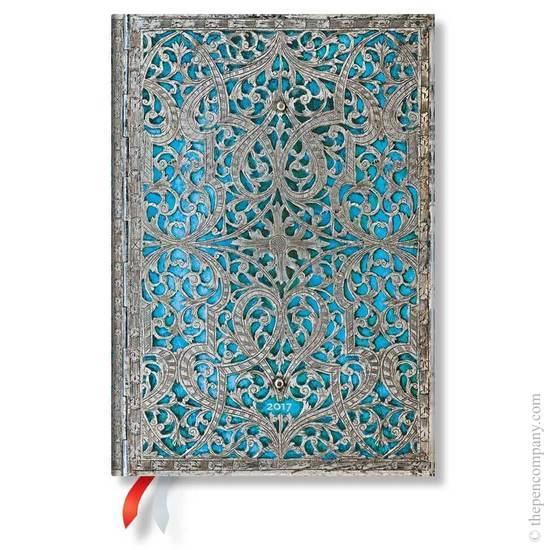 Paperblanks Midi Day-at-a-Time Maya Blue Silver Filigree 2017 Diary - 1