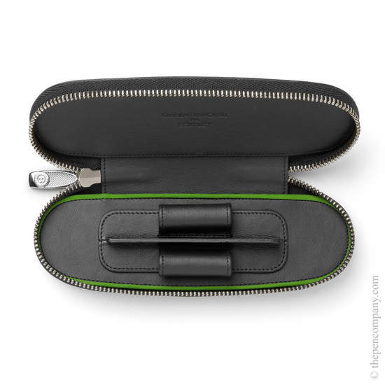 Black Bentley Leather Pen Case for Two Pens - 1