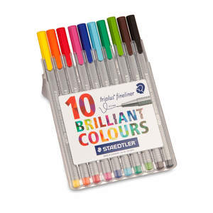 Assorted Staedtler Triplus Fineliner Pack of 10 - 1