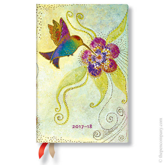 Mini Laurel Burch Whimsical Creations 2017-2018 18 Month Diary Hummingbird Horizontal Week-to-View -