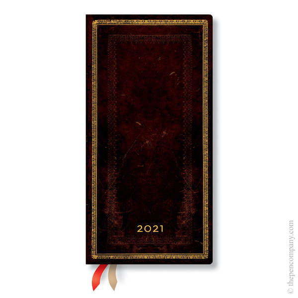 Slim Paperblanks Old Leather 2021 Diary 2021 Diary Black Moroccan Horizontal Week-to-View