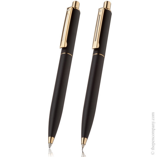 Sheaffer sentinel black with gold trim ballpoint pen and pencil set - 1
