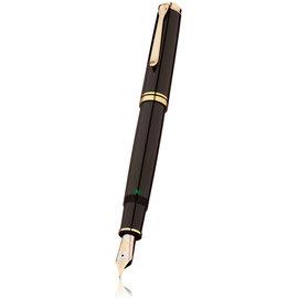 Black Pelikan Souveran 800 Fountain Pen with Gold Trim - Extra Fine Nib - 1