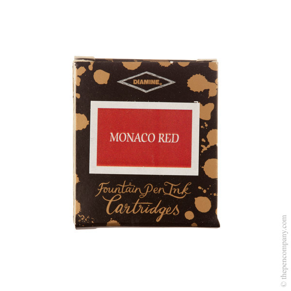 Monaco Red Diamine Fountain Pen Ink Cartridges Pack of 6