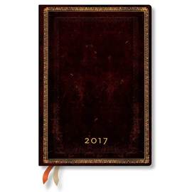 Paperblanks Midi Day-at-a-Time Black Moroccan Old Leather 2017 Diary - 1