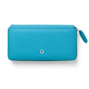 Gulf Blue Graf von Faber-Castell Epsom Leather Ladies Purse with Zip Wallet - 1