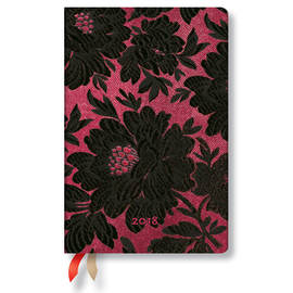 Mini Chic and Satin 2017-2018 18 Month Diary Black Dahlia Horizontal Week-to-View - 1